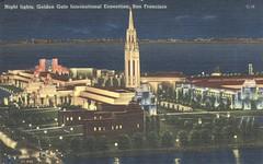 Night Lights - 1939 Golden Gate International Exposition - San Francisco, California (The Cardboard America Archives) Tags: sanfrancisco california vintage expo linen postcard exposition 1939 worldsfair