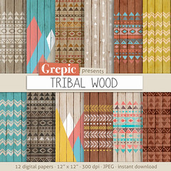"Tribal digital paper: ""TRIBAL WOOD"" with aztec patterns and tribal patterns on wood in colorful backgrounds and textures (workyourart) Tags: wood digital paper colorful aztec patterns tribal textures backgrounds arrows azter"