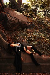 Corner of the Universe (Erin Bobbitt) Tags: park nyc autumn trees woman black fall leaves witch manhattan central
