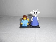 Frisk, Toriel, and .... (TomKazutara) Tags: blue toby dog white silver skeleton lego great goat armor fox greater papyrus frisk mech sans fabuland goatmom flowey toriel greaterdog undertale tobyfox