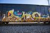 warm colors, wet weather (dogslobber) Tags: freight train graffiti art graff trains freights boxcar railfan foamer fr8 fr8heaven paint burner
