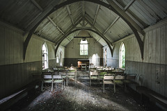 The Old Chapel. (climbing the walls) Tags: chapel chairs arch sunlight woodenflooring windows abandoned piano organ majestic festive justoneclick winter december christmas wooden directlight openlens camera tripod photographic image capture stillmoment peaceful tranquil serenity womeninstitute wi