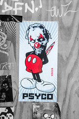 psycho Mouse clown contrast (PDKImages) Tags: art street manchesterstreetgallery manchesterstreetart streetart contrasts couple love artinthecity ripartist faces abandoned girl bee bees manchester walls posterart stencilart heart hidden dmstff cityscape cityscene