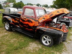 1949 Chevy 3100 (splattergraphics) Tags: 1949 chevy 3100 pickup truck custom flames carshow nsra streetrodnationalseast yorkexpocenter yorkpa