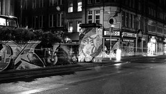 Night Time wall flowers monochrome (PDKImages) Tags: lights longexposure manchesterstreetart manchesterart manchester cityscape artinthecity trails wall lightup bowie urban mural ghosts shadows ancoats ladies love alley alleyway streets