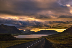 Between day and night (Sizun Eye) Tags: snaefellsnes iceland islande northerneurope europe europedunord scandinavia scandinavie paysage landscape cloudscape clouds reflections vastness immensity immensité beauty nature road sunset colorful summer sizuneye sizun nikond750 nikon d750 tamron2470mmf28 tamron 2470mm