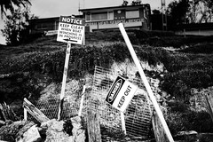Danger on the Beach (pnarsiman) Tags: norah head norahhead australia construction beach sea ocean rock sign signs nikon nikond5300 d5300 bw monochrome 35mm