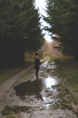Rainy days... (CarolienCadoni..) Tags: sonyslta99 sal2470z portret portrait forest trees puddle rain rainy rainyday raindrops nieuwbuinen drenthe nederland netherlands january