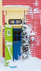 #8 (Karen_Chappell) Tags: door pink green blue jellybeanrow house home paint painted snow winter downtown wood wooden trim clapboard stjohns newfoundland nfld atlanticcanada city urban number window rowhouse january cold snowy