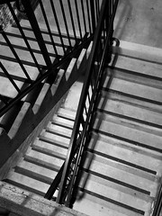 Going Down. Or Up? (glo photography) Tags: california gloriasalvanteglophotography northerncalifornia santarosaca sonomacounty architecture blackandwhite building downtown garage monochrome night outdoor stairs structure urban winter