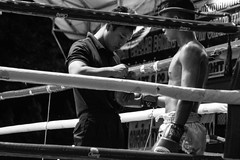 (|MNC Photography|) Tags: life street portrait people man sport night canon dark thailand eos noche blackwhite fight hands force nightshot retrato awesome negro ring boxer tradition mirada impressive hombre muaythai fuerza