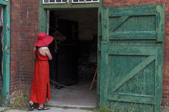 lady in red (fleur.wang) Tags: uk red portrait green fleur lady farm ngc artofimages