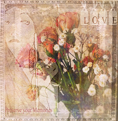 Preserve your Memories (virtually_supine) Tags: roses painterly floral photomanipulation vintage text creative textures layers gypsophilia digitalartwork photoshopelements9 awardtreechallenge133~vintagefloral picasa31960