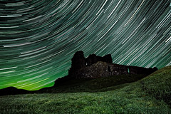 Skydance... The night the Aurora came (Derek Coull) Tags: castle aurora northernlights borealis startrail remotelocation dufftown thecabrach auchindoun historiccastle samsung16mmf24lens samsungnx1100 derekcoull registereddarkskyarea