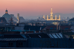 Roofs and Hall (AndreasGoettlicher) Tags: vienna wien city blue roof sunset rooftop skyline architecture golden hour townhall glas