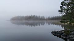 Misty morning on lake Nsijrvi (Juho Holmi) Tags: autumn mist lake holiday macro fall water beautiful weather k misty suomi finland island dc scenery finnland pentax 5 cottage sigma 45 17 28 af 70 tampere loma k5 syksy jrvi nsijrvi yljrvi 1770mm f2845 kulju ylinen birkaland mutala korpisaari