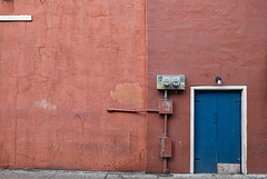 The wall (Timothy Neesam (GumshoePhotos)) Tags: door blue red wall french fuji neworleans negativespace quarter fujifilm nola cracked treme xt1
