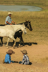 Far North Queensland Life (robertdownie) Tags: grass life simple kids playing horse country hats dam riding australia far north queensland fnq