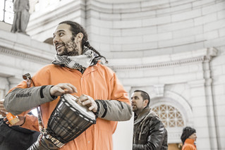 Abe Velazquez Plays a Drum at Union Station