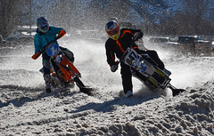And this is a Snow Bike viewed from the front (maytag97) Tags: maytag97 outdoor trail motorized fun recreational race competitive tread engine compete bike season recreation ski motor motorcycle winter speed competition track snow sport fast snowbike