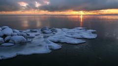 Frozen (tinamar789) Tags: frost ice sea seascape sunset snow winter horizon seashore rocks lauttasaari helsinki finland
