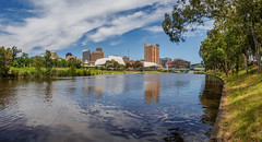 Adelaide Riverfront (Anthony's Olympus Adventures) Tags: adelaide adelaidecbd southaustralia australia sa city cityscape streetscape panorama rivertorrens riverfront water sky stunning wow beautiful amazing nice afternoon weather clouds olympusem10 raw panoramic cityview citycenter river waterway publicspace downtown citycentre adl urban