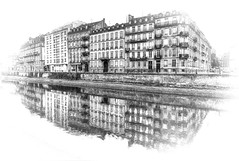 Strasbourg (Bruno MATHIOT) Tags: hdr tonemapping alsace bas rhin sigma 1020 eos canon 760d strasbourg europe city reflets reflection noiretblanc nb bw black white architecture eau water center centre ville