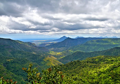 Black River Gorges National Park, Mauritius (Oldt1mer - Keith) Tags: scenery blackrivergorges view mauritius mountains forest trees ocean indianocean vista valley gorge nationalpark blackriver beautiful clouds sky hills distance high scene