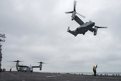 An MV-22 Osprey launches from the flight deck of USS Wasp. (Official U.S. Navy Imagery) Tags: amphibiousassaultship lhd1 sailors usnavy deployment usswasp atlanticocean usmarinecorps marines mv22osprey flightdeck