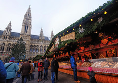 City Hall Christmas Market in Vienna, Austria (` Toshio ') Tags: toshio vienna austria krippenmarkt christmasmarket christmas december gifts people cityhall europe european europeanunion fujixe2 xe2 gingerbread pastry architecture building clock