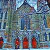 Eglise St Viateur (angelinas) Tags: prisma churchexteriors eglises montreal architecture art digitalpainting churches digitalart winter trees