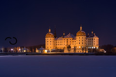 Schloss Moritzburg bei Nacht im Winter, Sachsen