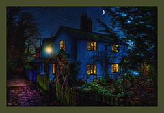 Overgrown (Kevin, from Manchester) Tags: greatermanchester lancashire monton northwest outdoor hdr canon1855mm architecture moon trees lamps