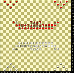 board (c - infinite plane-48 W) (qyiq23607pisano) Tags: huygens infinite plane prime number chess piece chessboard variant game pawn rook knight bishop queen king hawk chancellor empress marshall guard mann commoner fairy christiaan jager jäger unit formation