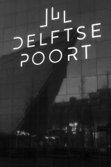 Rotterdam Centraal / Delftse Poort (Armando van Bruggen) Tags: rotterdam centraal delftse poort bw black white zwart wit nederland spoorwegen architechture typography nikon d7200