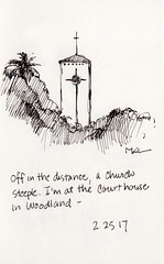 Church Steeple in Woodland (calliartist) Tags: sketches urbansketches moleskine woodlandca sacramentovalley penandink quicksketches