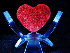"Macro Monday: the space ""in between"" (Hayseed52) Tags: heart space inbetween blue red sparkles love macromonday thespaceinbetween"
