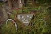 On yer bike.... (Harleynik Rides Again.) Tags: overgrown bike bicycle sign scotland rusty glenelg onyerbike nikondf harleynikridesagain