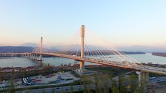 View of the new Port Mann Bridge connecting the cities of Coquitlam and Surrey. (jon.scrimgeour) Tags: travel bridge winter sunset sea summer lake snow canada mountains green ice beach nature water skyline vancouver port sunrise children landscape mexico photography bay surf sailing berries waterfront forrest eagle wind outdoor dusk britishcolumbia perspective australia aerial vietnam creation alberta boating emu mann phantom yvr uav inspire halongbay drone phantom3 kiewit dji