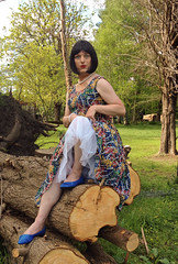 A Glimpse Of Petticoat (justplainrachel) Tags: blue net vintage naughty tv rachel shoes dress cd flash retro transvestite frock crossdresser petticoat justplainrachel
