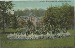 """ASYLUM NW Traverse MI Circa c.1907 Insane Asylum Home for Feeble Minded established 1885 Building 50 and Beautiful Grounds near Willow Lake & Kids Creek Dirt Street HorseBuggy Era (UpNorth Memories - Donald (Don) Harrison) Tags: travel usa heritage history tourism st vintage antique michigan postcard memories restaurants hotels trailer roadside upnorth steamship cafes excursion attractions motels mackinac cottages cabins campgrounds city"""" bridge"""" island"""" """"car upnorthmemories rppc wonders"""" """"big """"railroad """"michigan memories"""" mac"""" """"state parks"""" entertainment"""" """"natural harrison"""" """"roadside ferry"""" """"travel """"don """"tourist """"mackinaw puremichigan stops"""" """"upnorth straits"""" ignace"""""""