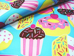 Sweet Yummy Cakes - Waterproof fabric - EK-QS38202 (ikoplus) Tags: blue red cakes yellow yummy sweet cyan faded fabric cupcake donut kawaii waterproof ikoplusfabric ekqs38202