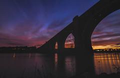 Train Bridge Sunset (Joey Wharton) Tags: longexposure bridge sunset shadow water silhouette river evening virginia richmond va rva