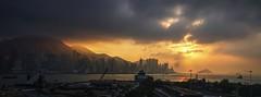 View of Hong Kong (shinnygogo) Tags: winter sunset orange skyline hongkong hotel twilight december waterfront view cloudy pano overcast ritzcarlton kowloon fivestar victoriaharbor endofday 2015 tier5 hdrphotomatix westernkowloon internationalcommercecentre ritzcarltonhk