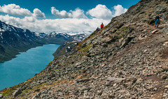 Besseggen Norway (Johan Abelson) Tags: travel vacation mountain snow norway rocks walk traveller adventure besseggen