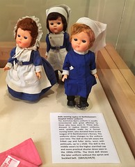 In the museum in the grounds of Bart's hospital are these dolls wearing Bart's sisters' uniforms through the ages. (juliavhill) Tags: history london bartshospitalmuseum dolls doll nursing nurse bartshospital barts