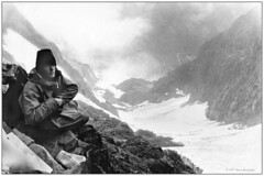 Bivouac 'temporary encampment under little shelter' 1977 (Fogle Images) Tags: stevegropp portrait alpineclimbing bivouac johanessburgtomagicmnt northcascades wa