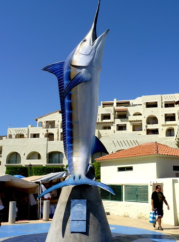 Statue of Largest Blue Marlin Caught in Cabo San Lucas, Mexico