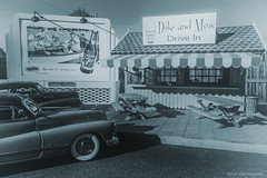 Duke and Mins B&W (khendrix21) Tags: roadside drivein 1948 buick roadmaster chevrolet fleetline 124scale diecast forced perspective billboard model danburymint