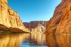 Fishing the Golden River (Herculeus.) Tags: 2016 az bouldersstonerocks canyon cloudless coloradoriverutaz country day erosion fall fishermen fishing landscape motorboats oct outdoor outdoors outside page river rockwall shipsboats 5photosaday thegalaxy